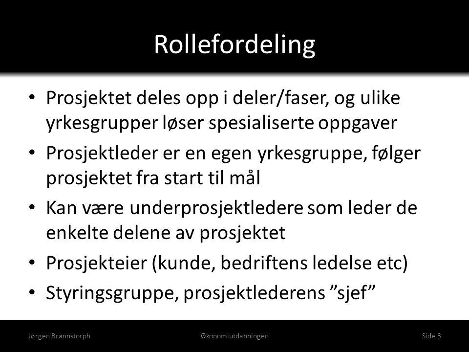Gjennomføring av tenkt prosjekt Jørgen BrannstorphØkonomiutdanningenSide 4 Prosjektleder funger som rød tråd Forretnings- utvikler skisserer idé, gjør første analyser, lager kravspesifikasjon Arkitekt lager produksjons- spesifikasjon Markedsavdeling gjennomfører markedskampanje Produksjon lager produktet i tråd med spesifikasjonen Salgs- og logistikkavdeling får produktet ut i markedet Analyse av salget; vurdere endringer i produktet eller markedsføringen