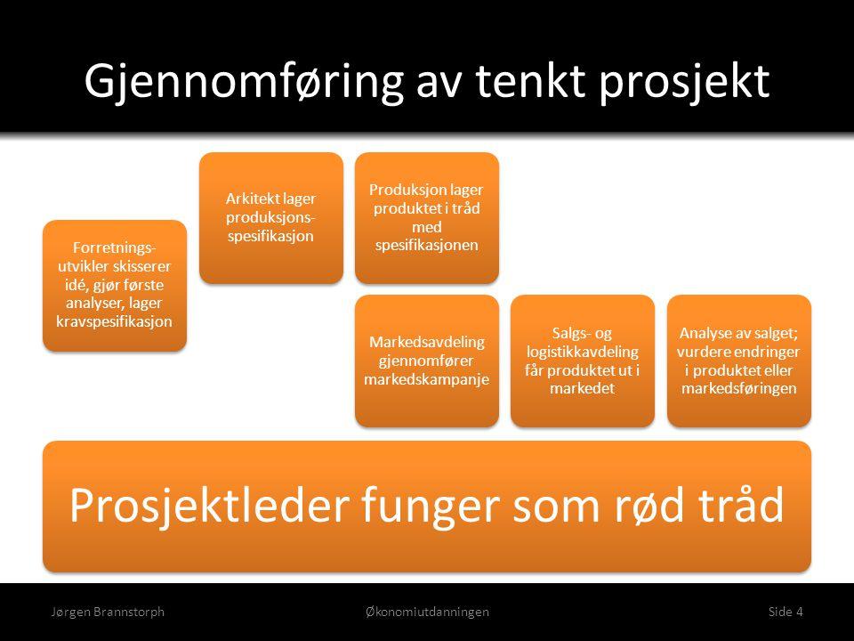 Gjennomføring av tenkt prosjekt Jørgen BrannstorphØkonomiutdanningenSide 4 Prosjektleder funger som rød tråd Forretnings- utvikler skisserer idé, gjør