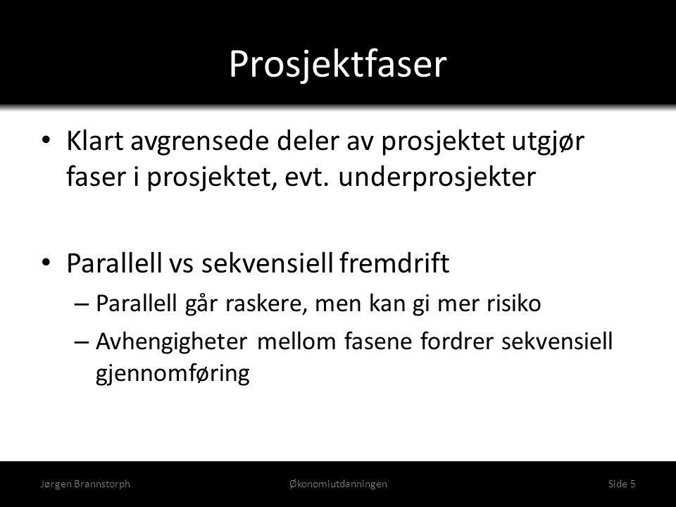 Prosjektfaser • Klart avgrensede deler av prosjektet utgjør faser i prosjektet, evt. underprosjekter • Parallell vs sekvensiell fremdrift – Parallell