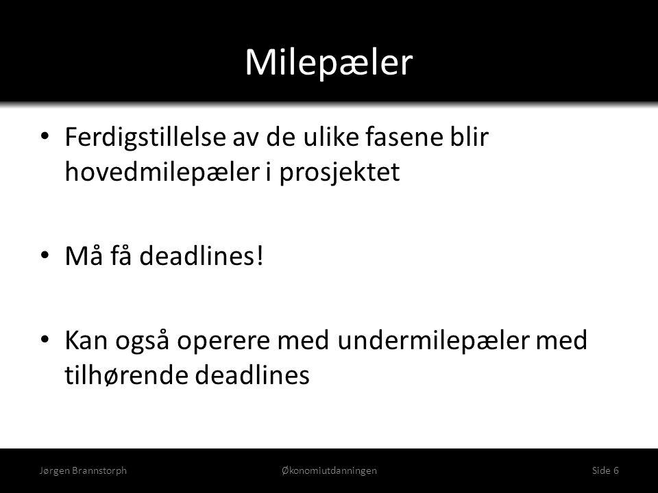 Milepæler • Ferdigstillelse av de ulike fasene blir hovedmilepæler i prosjektet • Må få deadlines! • Kan også operere med undermilepæler med tilhørend
