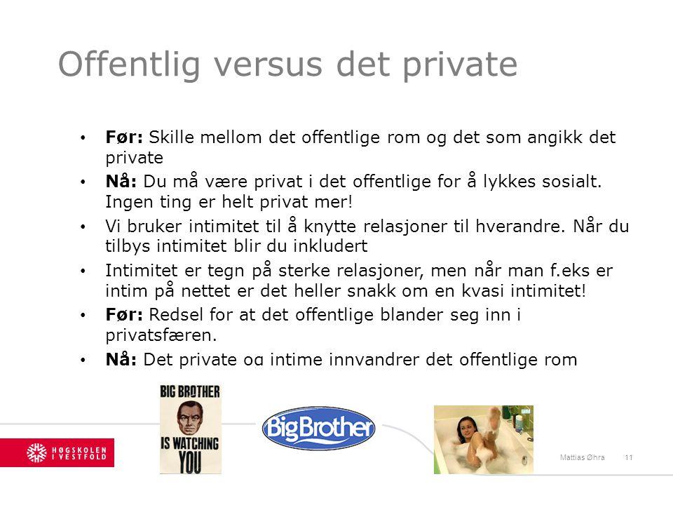 Offentlig versus det private • Før: Skille mellom det offentlige rom og det som angikk det private • Nå: Du må være privat i det offentlige for å lykk