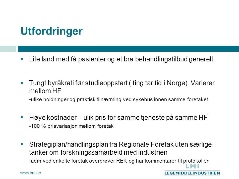 www.lmi.no Utfordringer  Lite land med få pasienter og et bra behandlingstilbud generelt  Tungt byråkrati før studieoppstart ( ting tar tid i Norge)