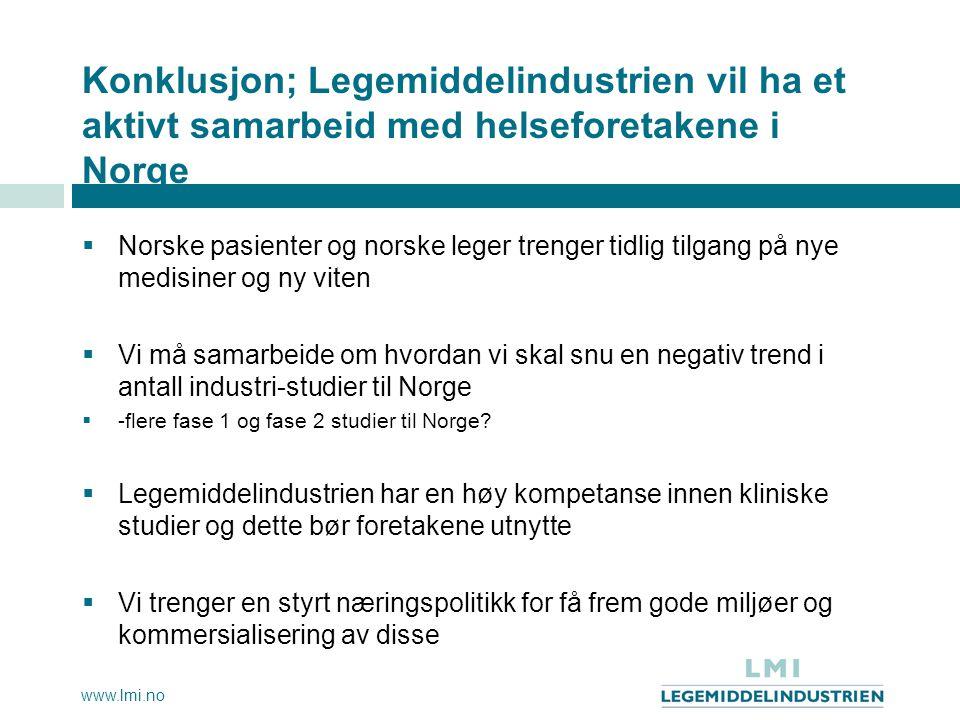 www.lmi.no Konklusjon; Legemiddelindustrien vil ha et aktivt samarbeid med helseforetakene i Norge  Norske pasienter og norske leger trenger tidlig t