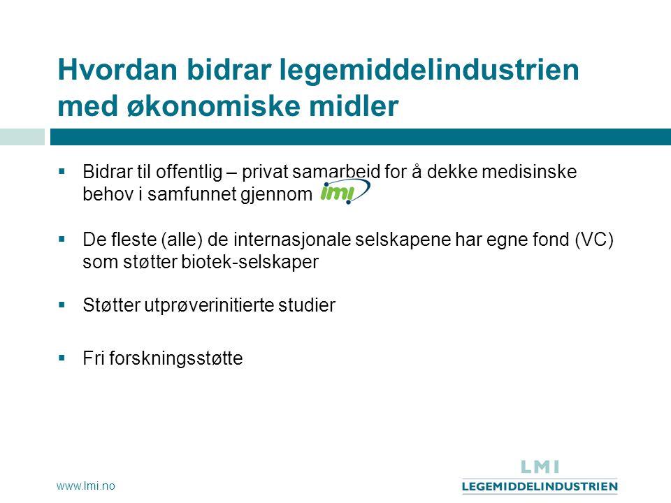 www.lmi.no Hvordan bidrar legemiddelindustrien med økonomiske midler  Bidrar til offentlig – privat samarbeid for å dekke medisinske behov i samfunne