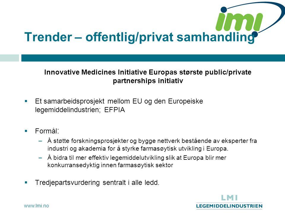 www.lmi.no Trender – offentlig/privat samhandling Innovative Medicines Initiative Europas største public/private partnerships initiativ  Et samarbeid