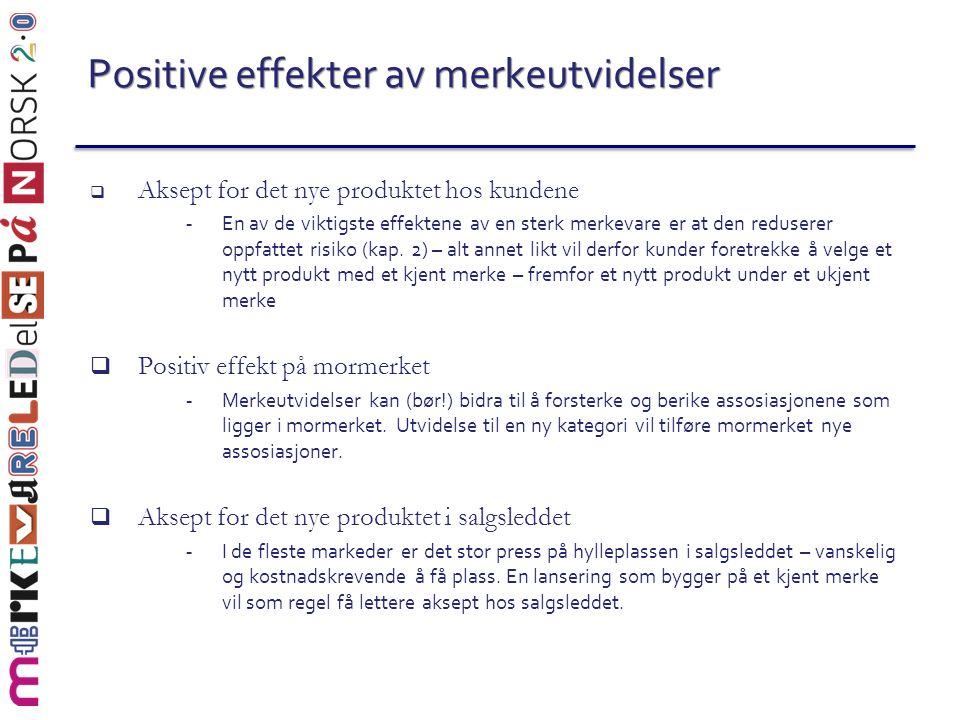 Positive effekter av merkeutvidelser  Aksept for det nye produktet hos kundene - En av de viktigste effektene av en sterk merkevare er at den reduser