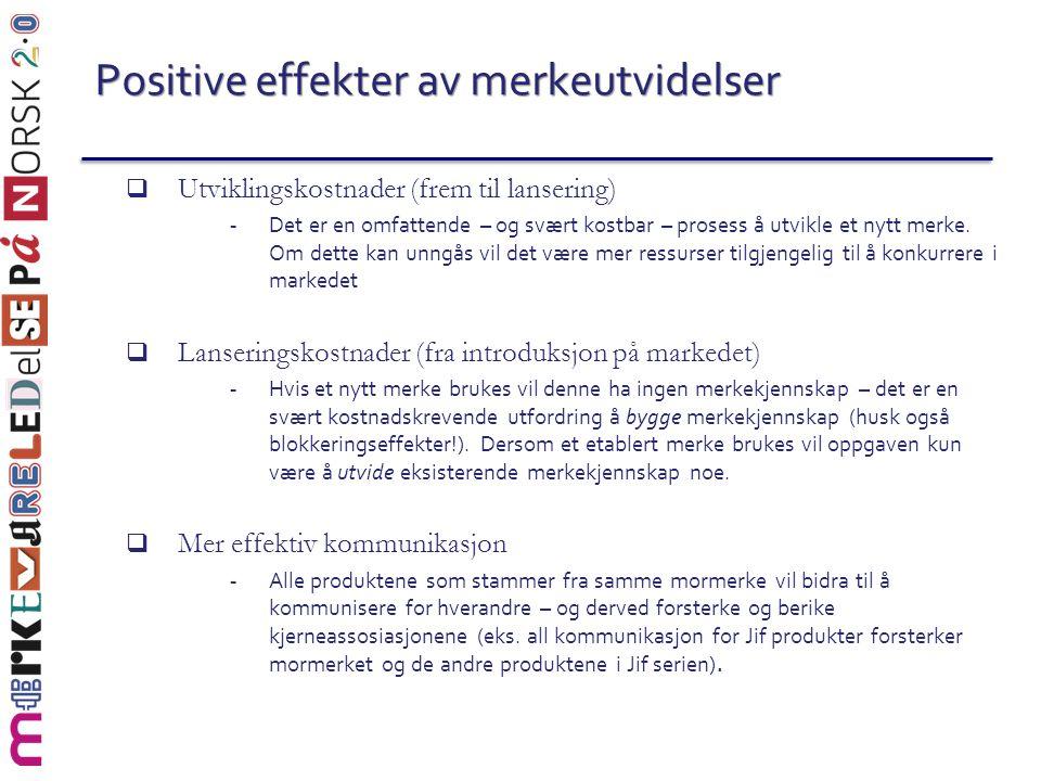 Positive effekter av merkeutvidelser  Utviklingskostnader (frem til lansering) - Det er en omfattende – og svært kostbar – prosess å utvikle et nytt