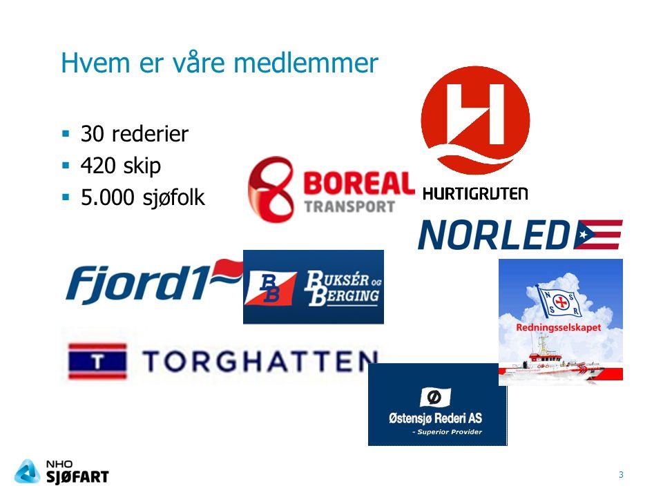 Hvem er våre medlemmer  30 rederier  420 skip  5.000 sjøfolk 3