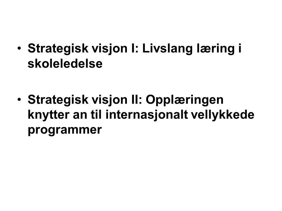•Strategisk visjon I: Livslang læring i skoleledelse •Strategisk visjon II: Opplæringen knytter an til internasjonalt vellykkede programmer