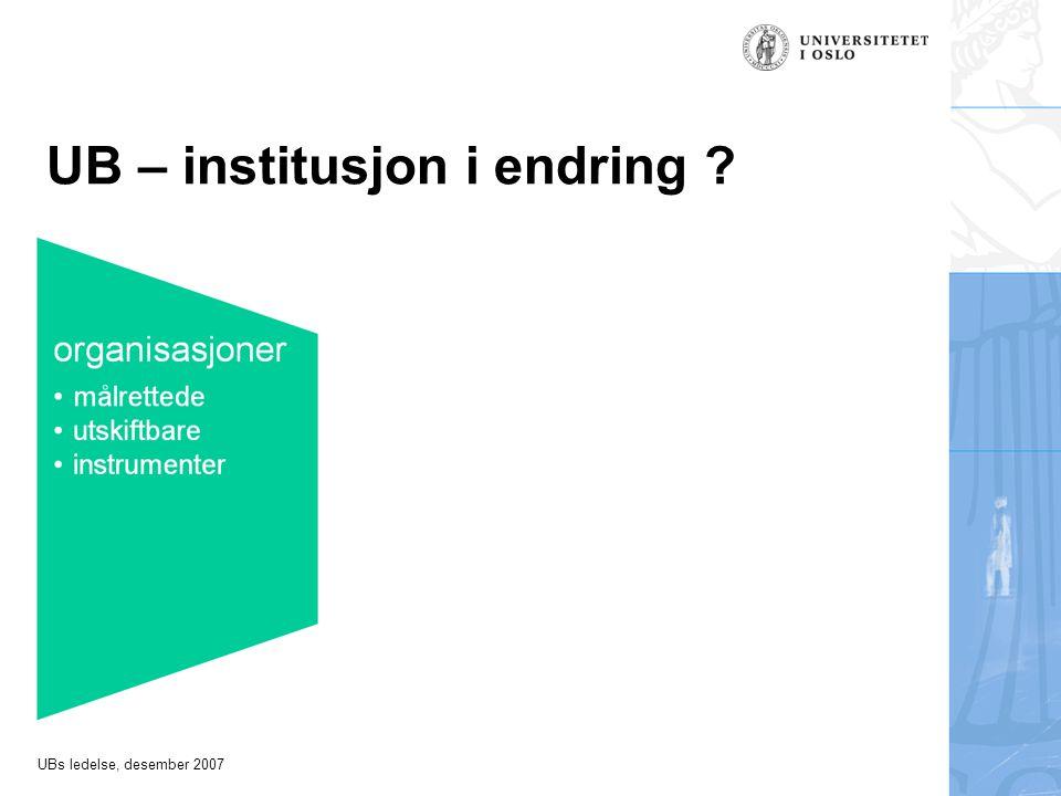 UBs ledelse, desember 2007 UB – institusjon i endring