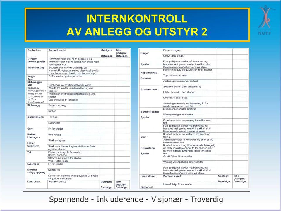 INTERNKONTROLL AV ANLEGG OG UTSTYR 2