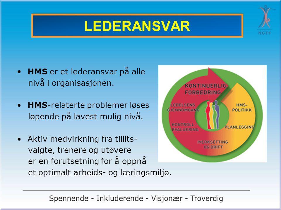 LEDERANSVAR •HMS er et lederansvar på alle nivå i organisasjonen. •HMS-relaterte problemer løses løpende på lavest mulig nivå. •Aktiv medvirkning fra