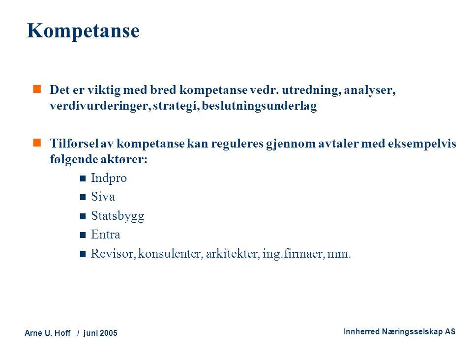 Technology and Society Arne U. Hoff / juni 2005 Innherred Næringsselskap AS Kompetanse  Det er viktig med bred kompetanse vedr. utredning, analyser,