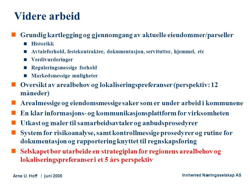 Technology and Society Arne U. Hoff / juni 2005 Innherred Næringsselskap AS Videre arbeid  Grundig kartlegging og gjennomgang av aktuelle eiendommer/