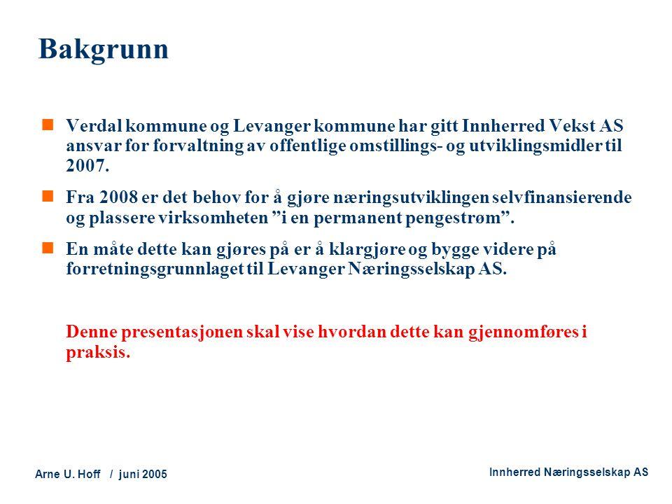 Technology and Society Arne U. Hoff / juni 2005 Innherred Næringsselskap AS Bakgrunn  Verdal kommune og Levanger kommune har gitt Innherred Vekst AS