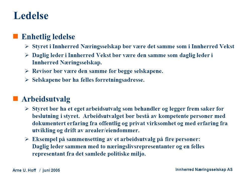 Technology and Society Arne U. Hoff / juni 2005 Innherred Næringsselskap AS Ledelse  Enhetlig ledelse  Styret i Innherred Næringsselskap bør være de