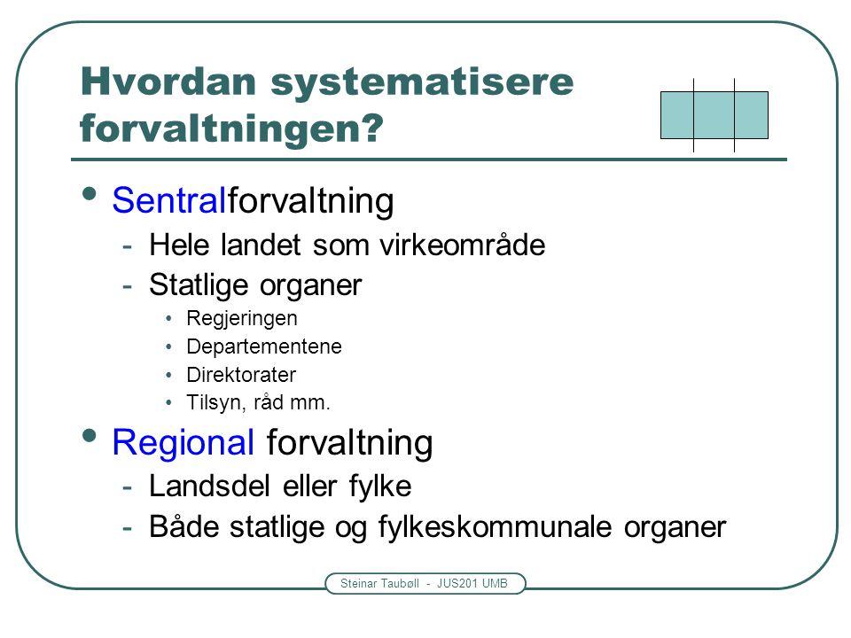 Steinar Taubøll - JUS201 UMB Hvordan systematisere forvaltningen? • Sentralforvaltning -Hele landet som virkeområde -Statlige organer •Regjeringen •De