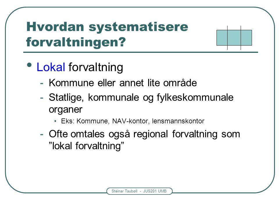Steinar Taubøll - JUS201 UMB Hvordan systematisere forvaltningen? • Lokal forvaltning -Kommune eller annet lite område -Statlige, kommunale og fylkesk