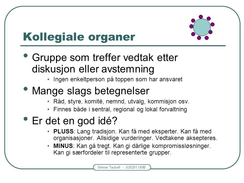 Steinar Taubøll - JUS201 UMB Kollegiale organer • Gruppe som treffer vedtak etter diskusjon eller avstemning •Ingen enkeltperson på toppen som har ans