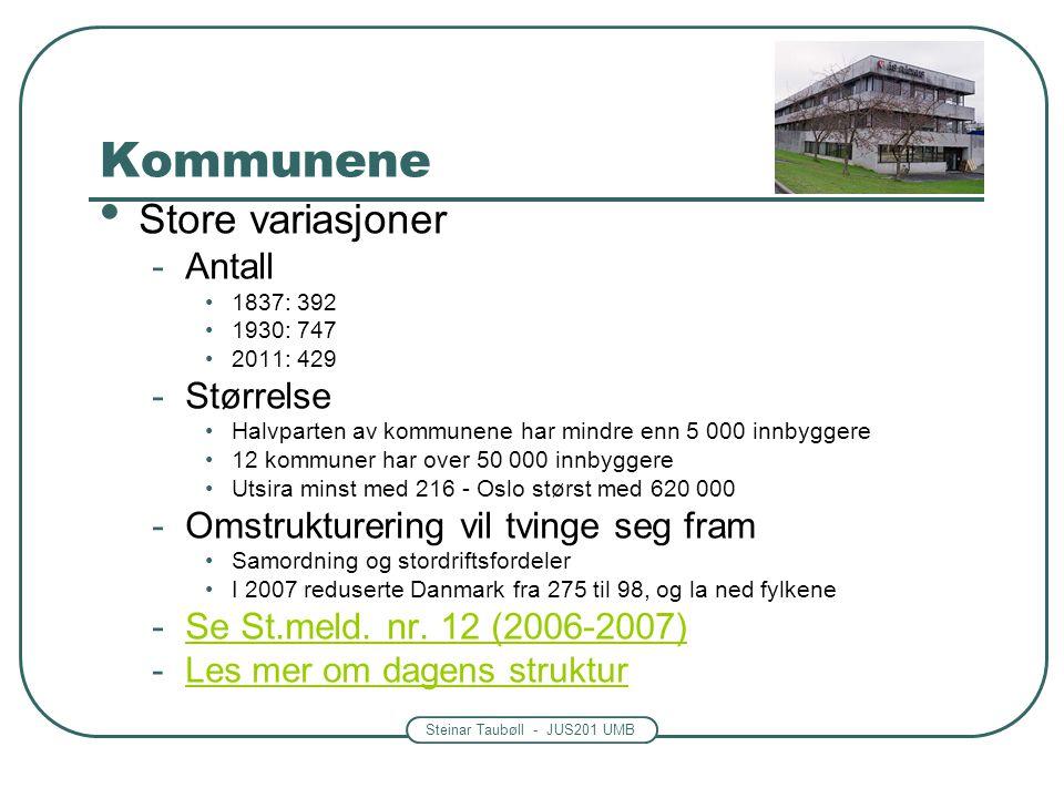 Steinar Taubøll - JUS201 UMB Kommunene • Store variasjoner -Antall •1837: 392 •1930: 747 •2011: 429 -Størrelse •Halvparten av kommunene har mindre enn