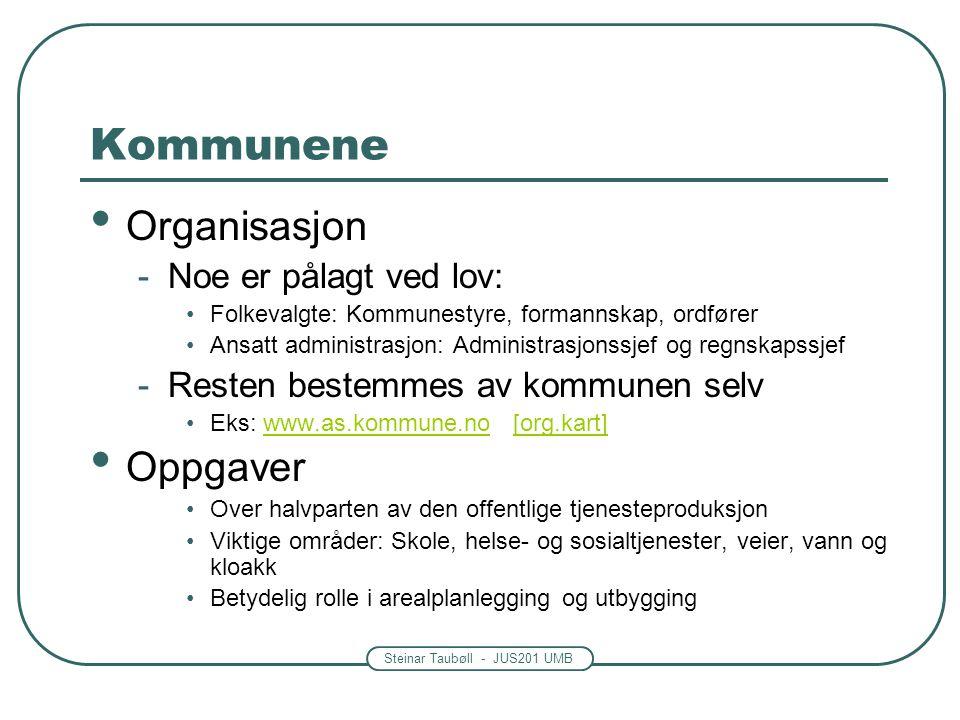 Steinar Taubøll - JUS201 UMB Kommunene • Organisasjon -Noe er pålagt ved lov: •Folkevalgte: Kommunestyre, formannskap, ordfører •Ansatt administrasjon
