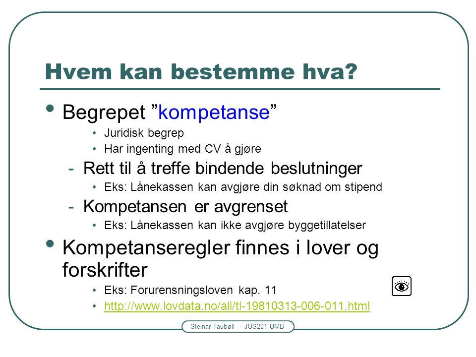 """Steinar Taubøll - JUS201 UMB Hvem kan bestemme hva? • Begrepet """"kompetanse"""" •Juridisk begrep •Har ingenting med CV å gjøre -Rett til å treffe bindende"""