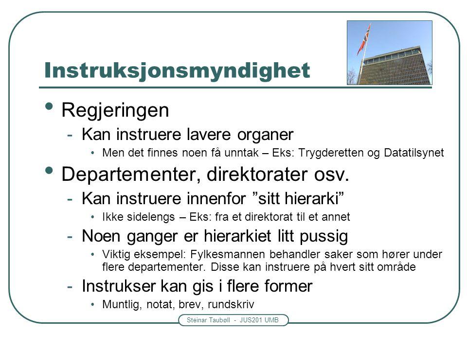 Steinar Taubøll - JUS201 UMB Instruksjonsmyndighet • Regjeringen -Kan instruere lavere organer •Men det finnes noen få unntak – Eks: Trygderetten og D