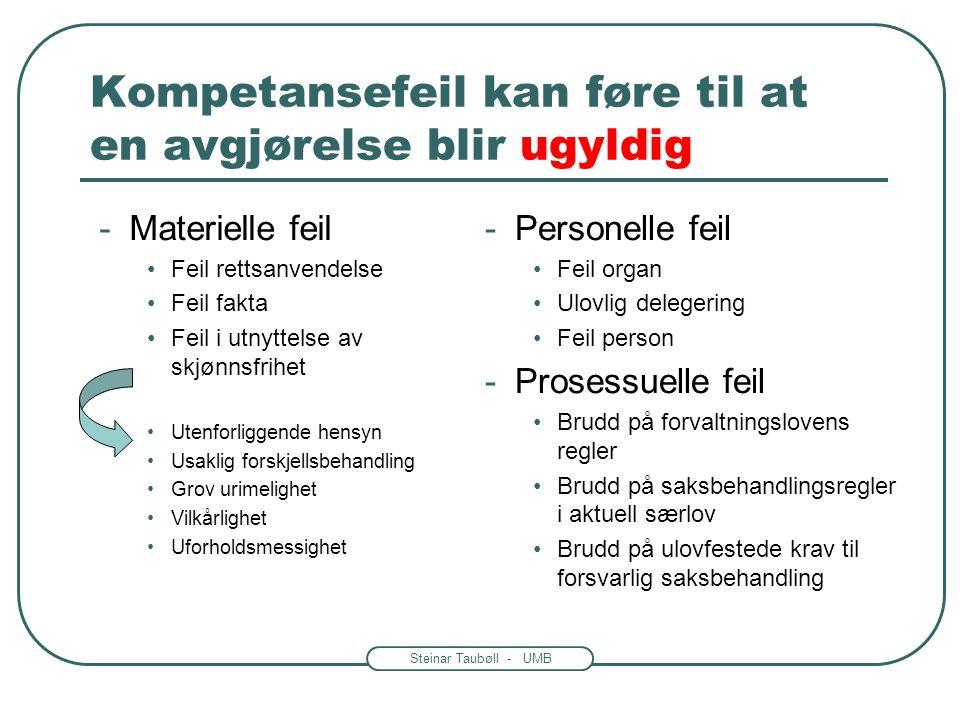 Steinar Taubøll - UMB Kompetansefeil kan føre til at en avgjørelse blir ugyldig -Materielle feil •Feil rettsanvendelse •Feil fakta •Feil i utnyttelse