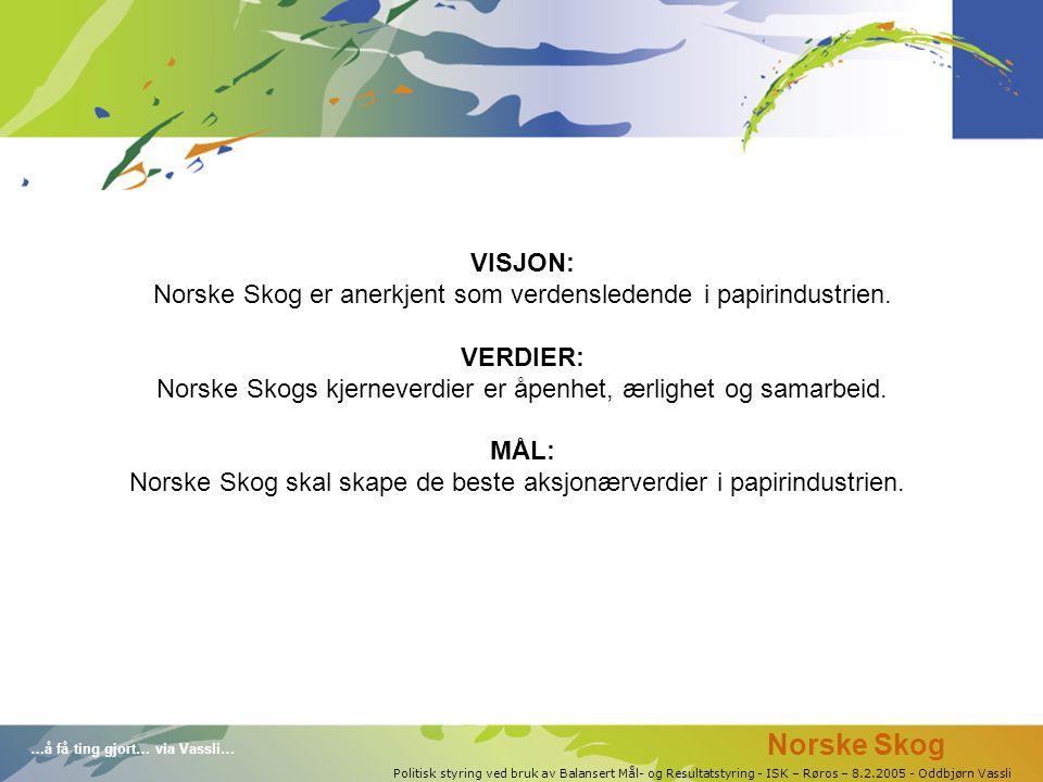 …å få ting gjort… via Vassli… Politisk styring ved bruk av Balansert Mål- og Resultatstyring - ISK – Røros – 8.2.2005 - Oddbjørn Vassli VISJON: Norske Skog er anerkjent som verdensledende i papirindustrien.