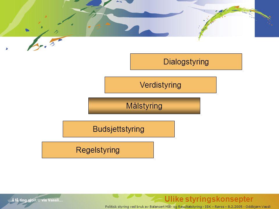 …å få ting gjort… via Vassli… Politisk styring ved bruk av Balansert Mål- og Resultatstyring - ISK – Røros – 8.2.2005 - Oddbjørn Vassli Regelstyring Verdistyring Målstyring Budsjettstyring Dialogstyring Ulike styringskonsepter