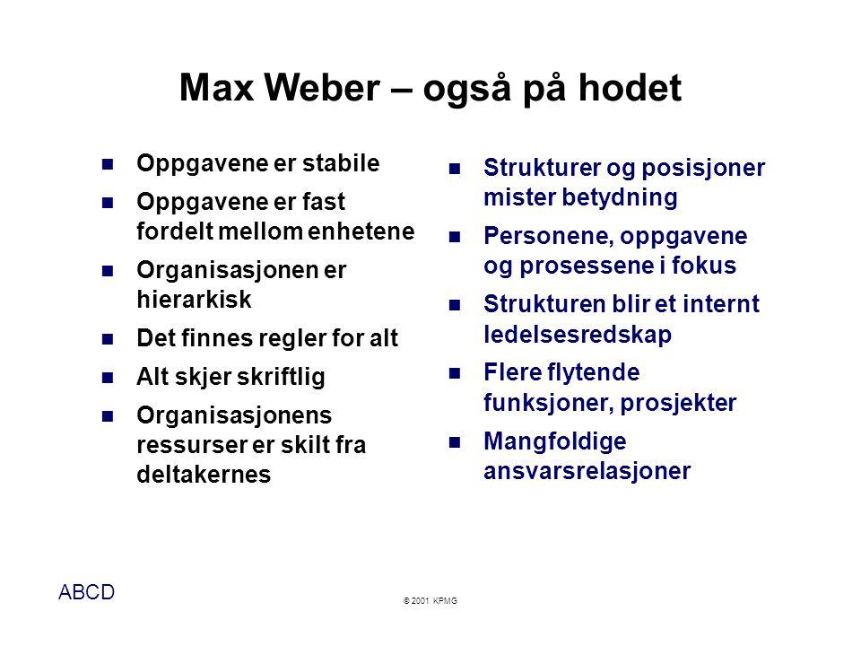 ABCD © 2001 KPMG Max Weber – også på hodet  Oppgavene er stabile  Oppgavene er fast fordelt mellom enhetene  Organisasjonen er hierarkisk  Det fin