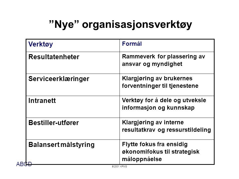 """ABCD © 2001 KPMG """"Nye"""" organisasjonsverktøy Klargjøring av brukernes forventninger til tjenestene Serviceerklæringer Verktøy for å dele og utveksle in"""