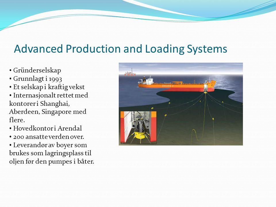 Advanced Production and Loading Systems • Gründerselskap • Grunnlagt i 1993 • Et selskap i kraftig vekst • Internasjonalt rettet med kontorer i Shangh