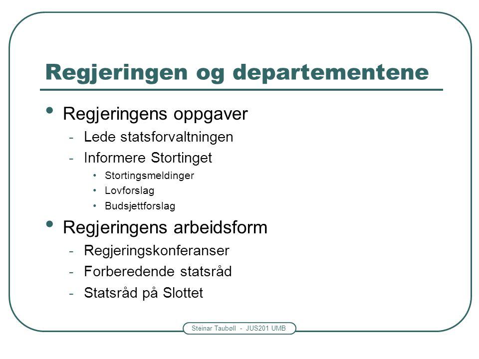Steinar Taubøll - JUS201 UMB Regjeringen og departementene • Regjeringens oppgaver -Lede statsforvaltningen -Informere Stortinget •Stortingsmeldinger