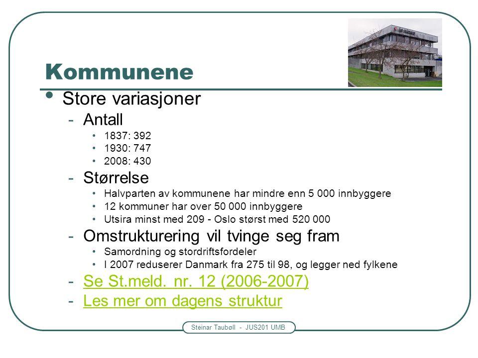 Steinar Taubøll - JUS201 UMB Kommunene • Store variasjoner -Antall •1837: 392 •1930: 747 •2008: 430 -Størrelse •Halvparten av kommunene har mindre enn