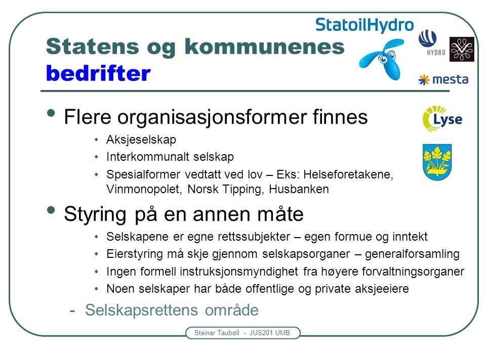 Steinar Taubøll - JUS201 UMB Statens og kommunenes bedrifter • Flere organisasjonsformer finnes •Aksjeselskap •Interkommunalt selskap •Spesialformer v