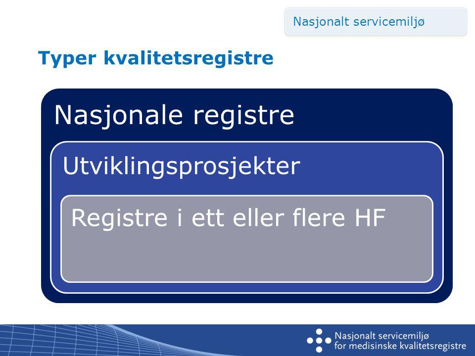 Typer kvalitetsregistre Nasjonale registre Utviklingsprosjekter Registre i ett eller flere HF Nasjonalt servicemiljø