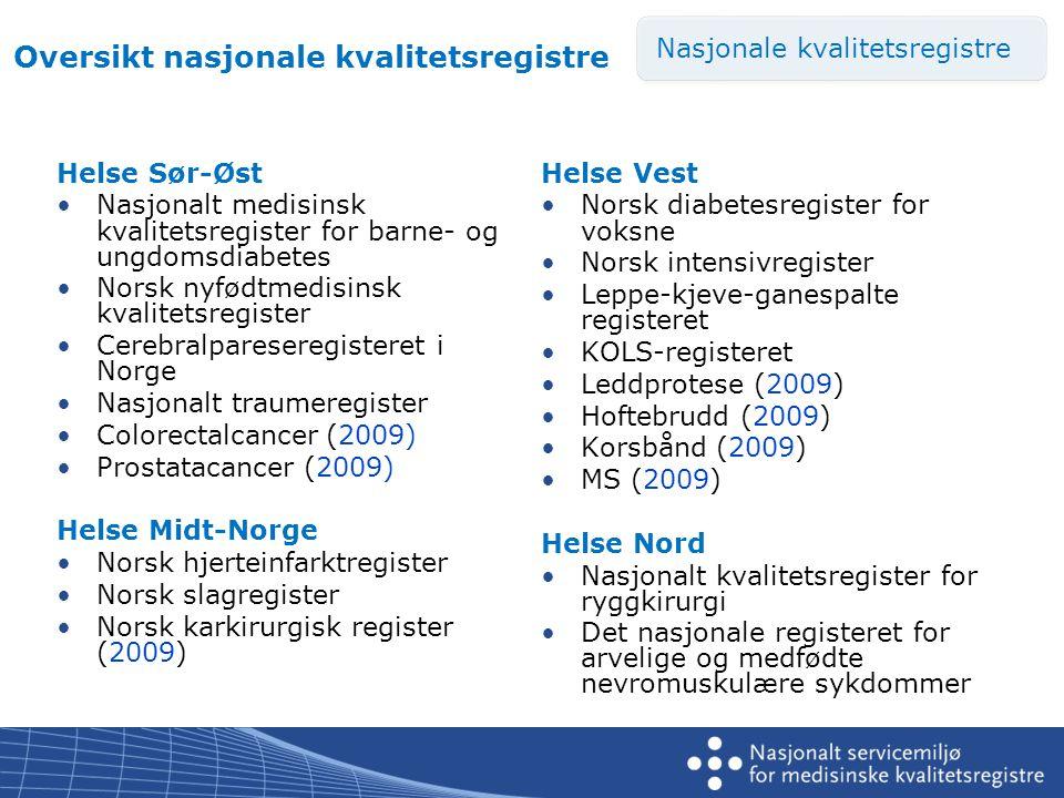Helse Sør-Øst •Nasjonalt medisinsk kvalitetsregister for barne- og ungdomsdiabetes •Norsk nyfødtmedisinsk kvalitetsregister •Cerebralpareseregisteret i Norge •Nasjonalt traumeregister •Colorectalcancer (2009) •Prostatacancer (2009) Helse Midt-Norge •Norsk hjerteinfarktregister •Norsk slagregister •Norsk karkirurgisk register (2009) Helse Vest •Norsk diabetesregister for voksne •Norsk intensivregister •Leppe-kjeve-ganespalte registeret •KOLS-registeret •Leddprotese (2009) •Hoftebrudd (2009) •Korsbånd (2009) •MS (2009) Helse Nord •Nasjonalt kvalitetsregister for ryggkirurgi •Det nasjonale registeret for arvelige og medfødte nevromuskulære sykdommer Nasjonale kvalitetsregistre Oversikt nasjonale kvalitetsregistre