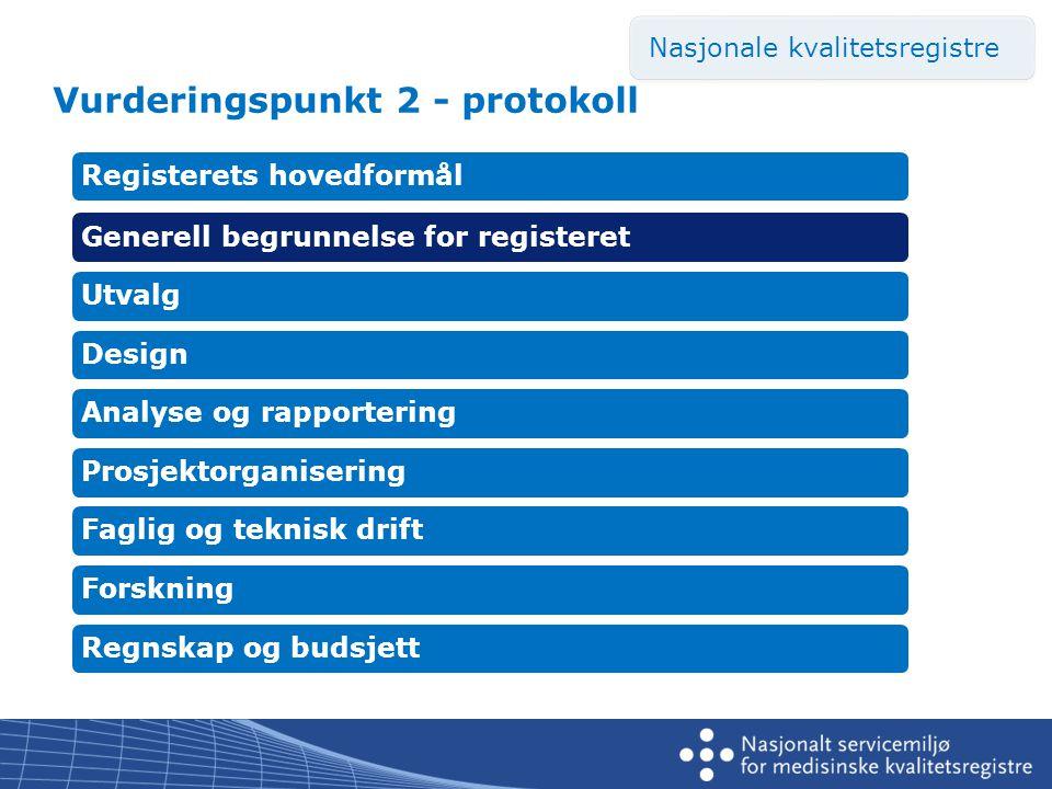 Vurderingspunkt 2 - protokoll Registerets hovedformålGenerell begrunnelse for registeretUtvalgDesignAnalyse og rapporteringProsjektorganiseringFaglig og teknisk driftForskningRegnskap og budsjett Nasjonale kvalitetsregistre