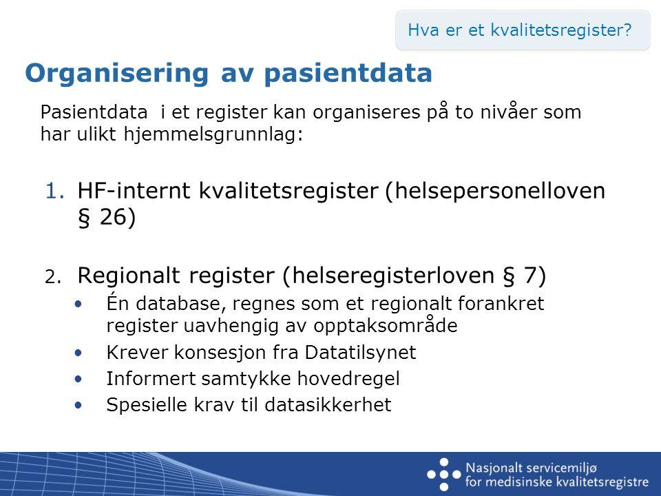 Behandlingsgrunnlag – krav om lovhjemmel •Kvalitetsregistre i mer enn ett foretak Konsesjon fra Datatilsynet •Kvalitetsregistre i mer enn ett foretak Helseregisterloven § 7 •Sentrale helseregistre Helseregisterloven § 8 •Medisinsk og helsefaglig forskning Helseforskningsloven § 33 •HF-interne kvalitetsregistre Helsepersonelloven § 26 Hva er et kvalitetsregister?