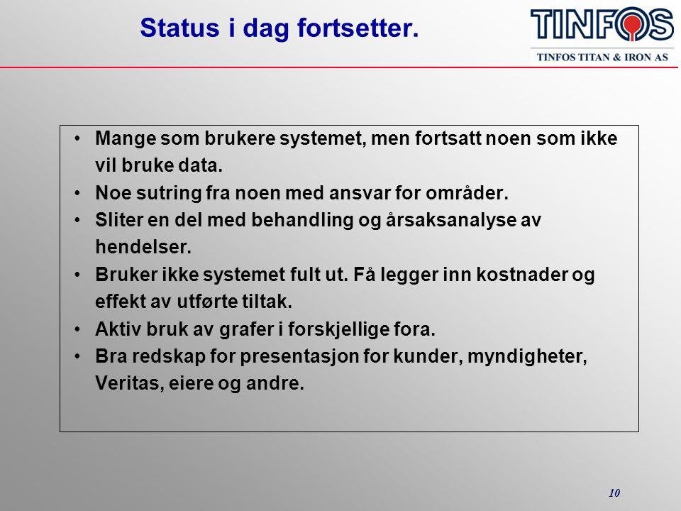 10 Status i dag fortsetter. •Mange som brukere systemet, men fortsatt noen som ikke vil bruke data.