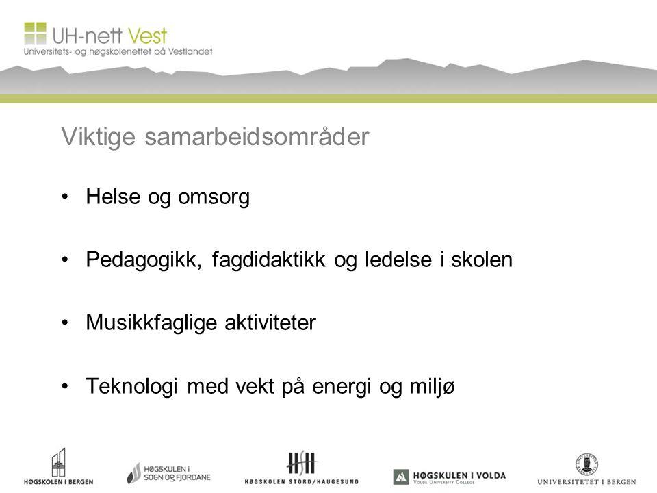 Viktige samarbeidsområder •Helse og omsorg •Pedagogikk, fagdidaktikk og ledelse i skolen •Musikkfaglige aktiviteter •Teknologi med vekt på energi og miljø