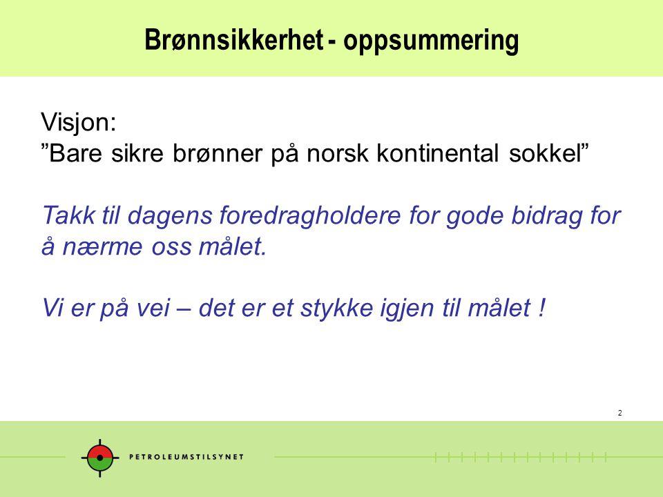 2 Brønnsikkerhet - oppsummering Visjon: Bare sikre brønner på norsk kontinental sokkel Takk til dagens foredragholdere for gode bidrag for å nærme oss målet.