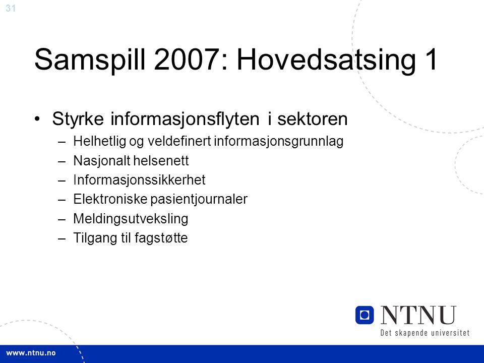 31 Samspill 2007: Hovedsatsing 1 •Styrke informasjonsflyten i sektoren –Helhetlig og veldefinert informasjonsgrunnlag –Nasjonalt helsenett –Informasjo