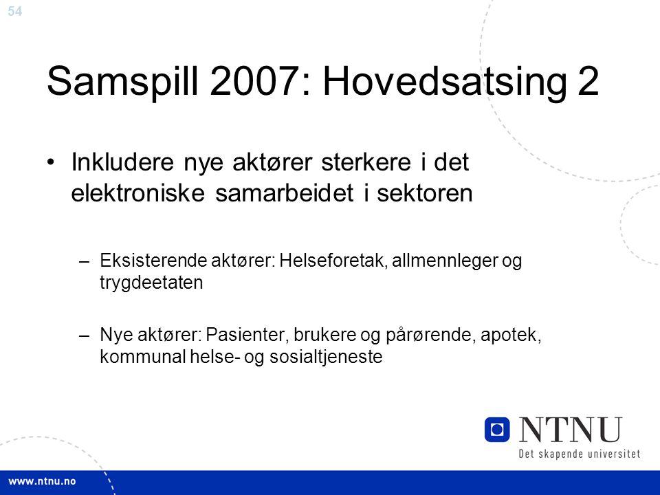 54 Samspill 2007: Hovedsatsing 2 •Inkludere nye aktører sterkere i det elektroniske samarbeidet i sektoren –Eksisterende aktører: Helseforetak, allmen