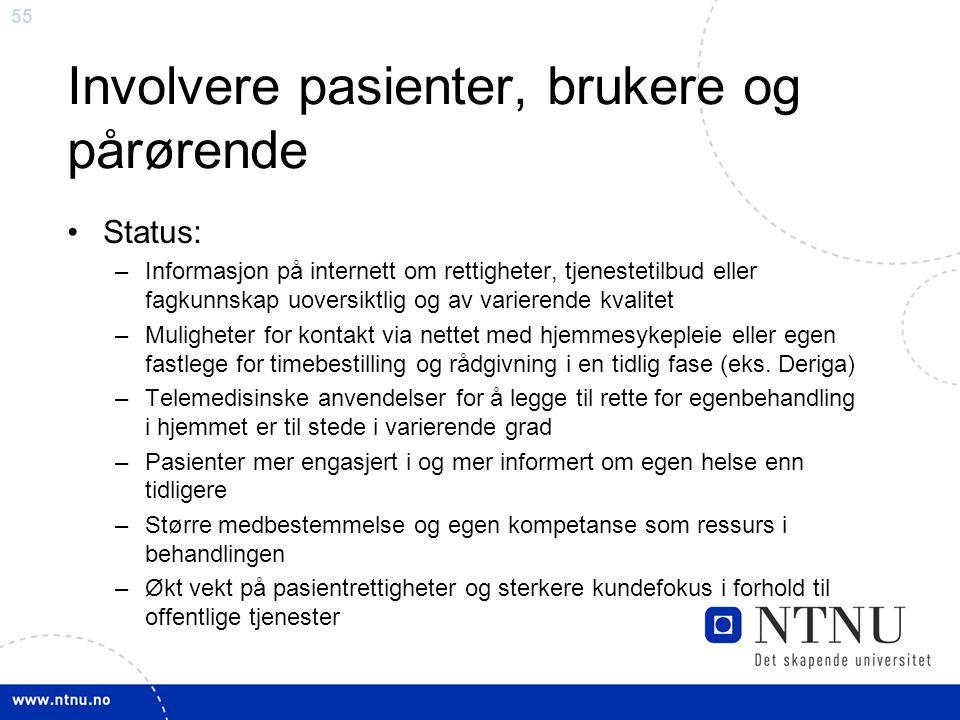 55 Involvere pasienter, brukere og pårørende •Status: –Informasjon på internett om rettigheter, tjenestetilbud eller fagkunnskap uoversiktlig og av va