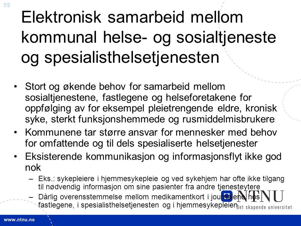 59 Elektronisk samarbeid mellom kommunal helse- og sosialtjeneste og spesialisthelsetjenesten •Stort og økende behov for samarbeid mellom sosialtjenes