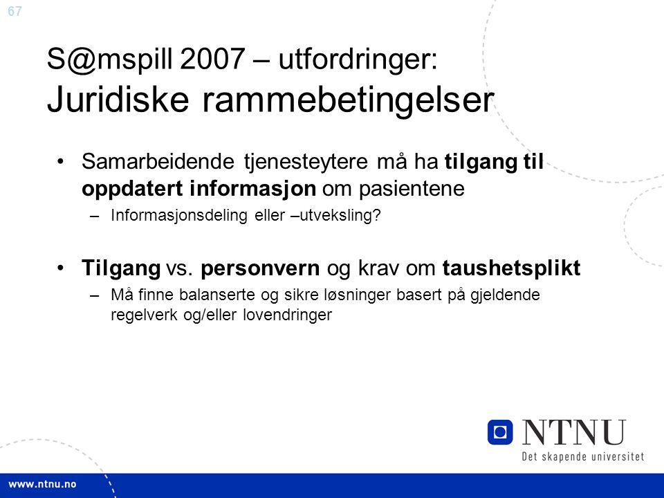 67 S@mspill 2007 – utfordringer: Juridiske rammebetingelser •Samarbeidende tjenesteytere må ha tilgang til oppdatert informasjon om pasientene –Inform