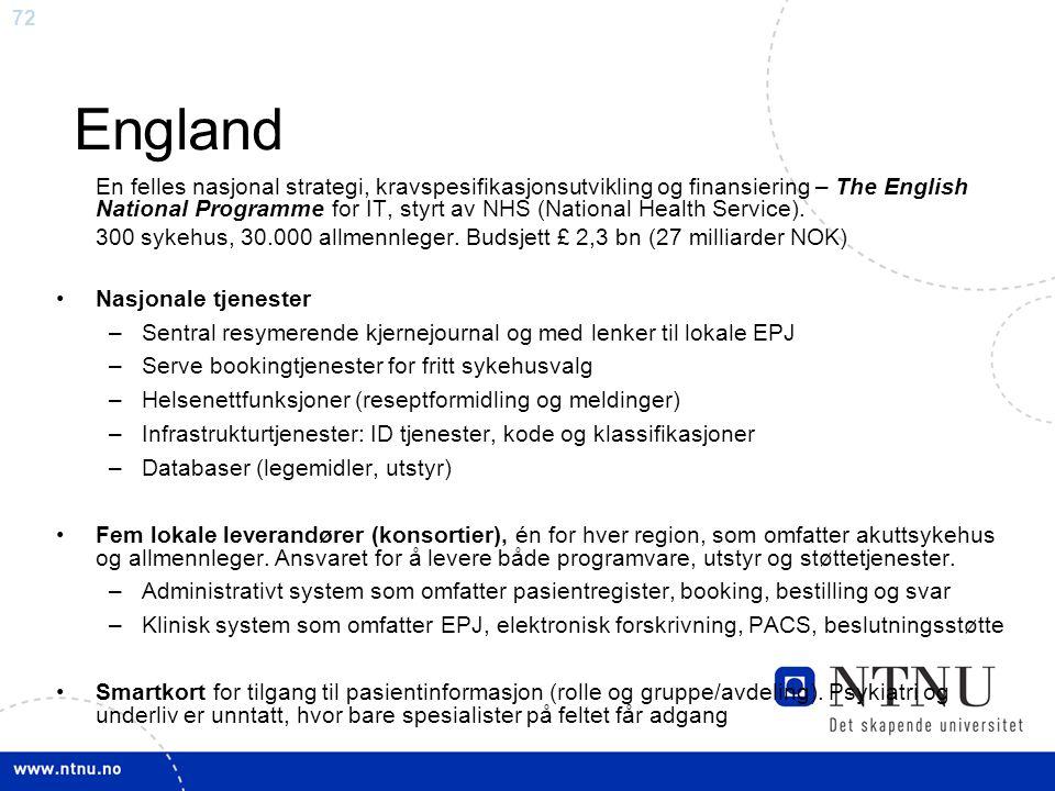 72 England En felles nasjonal strategi, kravspesifikasjonsutvikling og finansiering – The English National Programme for IT, styrt av NHS (National He