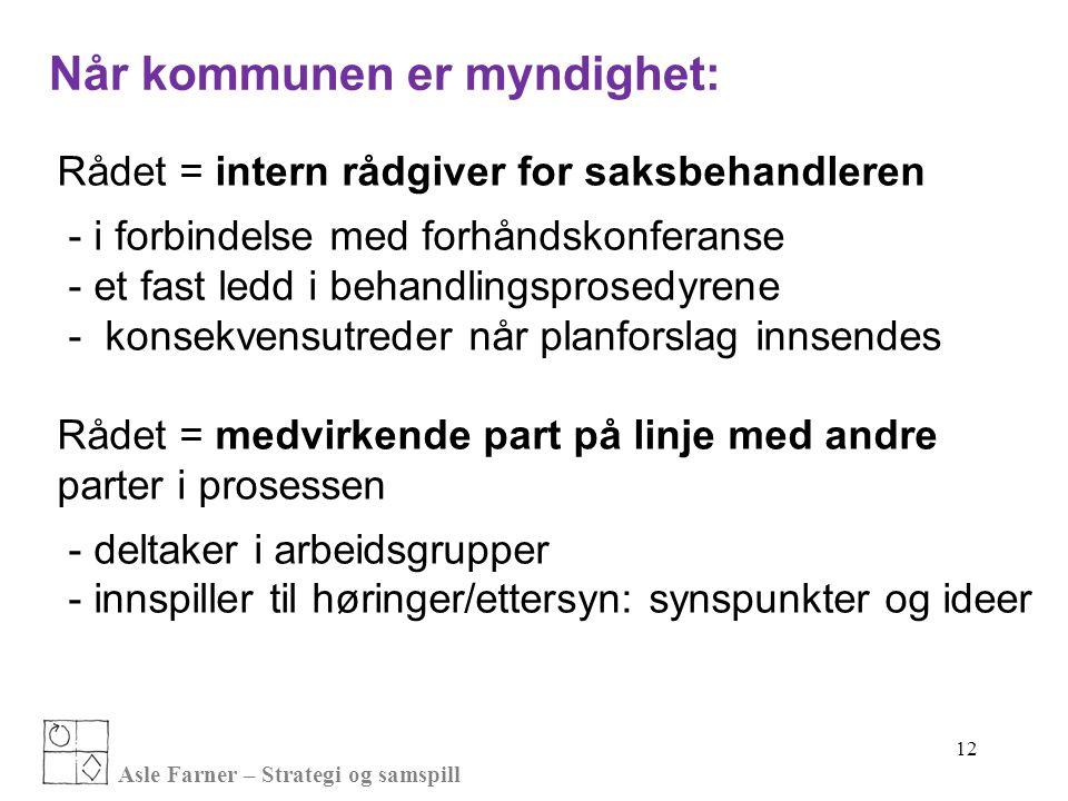 Asle Farner – Strategi og samspill Når kommunen er myndighet: Rådet = intern rådgiver for saksbehandleren - i forbindelse med forhåndskonferanse - et